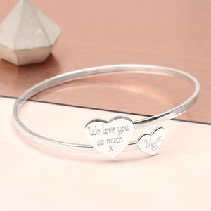 Personalised Sterling Silver Double Heart Bangle - bracelets & bangles