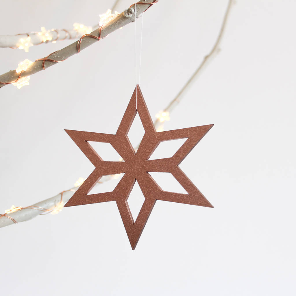Scandinavian Christmas.Scandinavian Christmas Tree Star Ornaments Pack Of Four