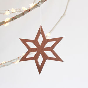 Scandinavian Christmas Tree Star Ornaments Pack Of Four