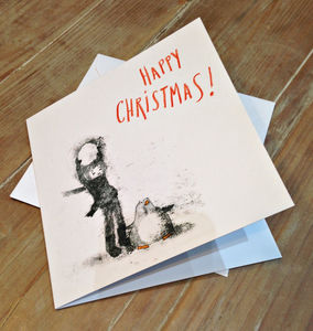 Watch Out! Monoprinted Christmas Card - christmas card packs