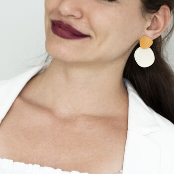 Contrast Abstract Two Shade Matte Earrings