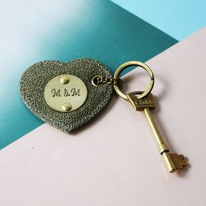 Personalised Leather Heart Keyring