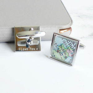 Personalised Map Location Square Cufflinks