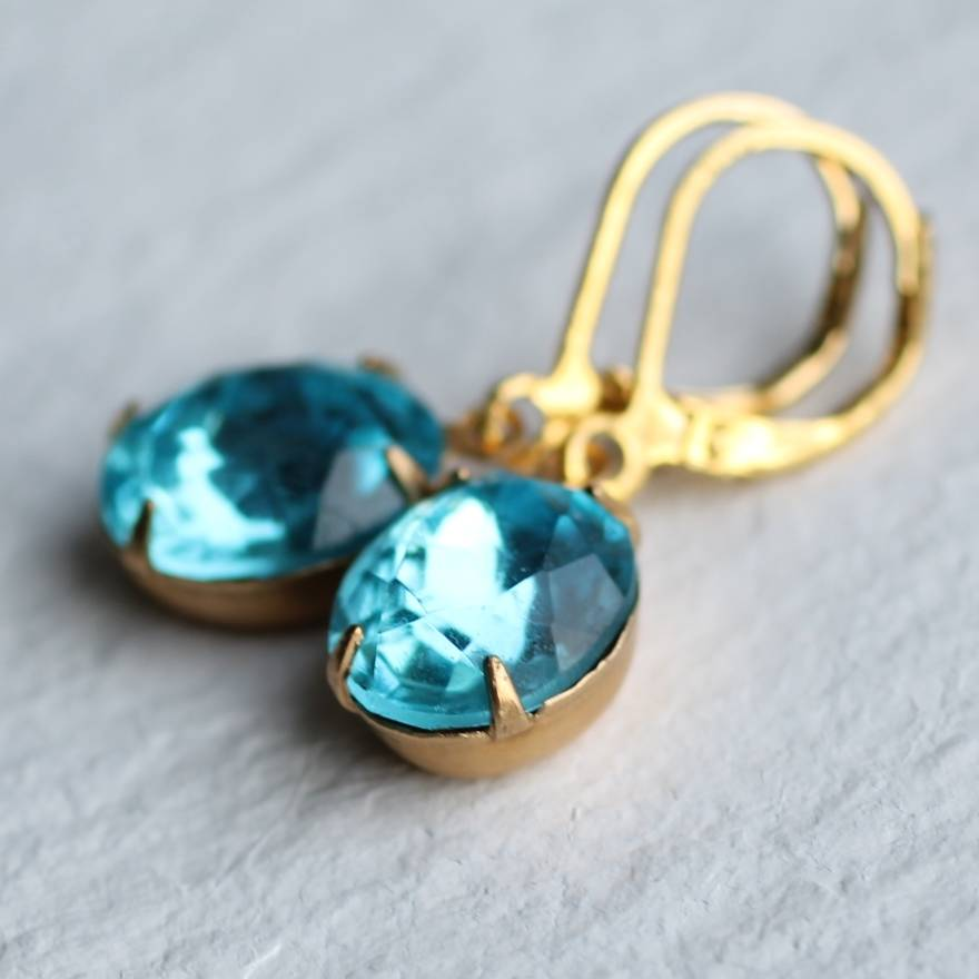 Sea Blue Turquoise Earrings