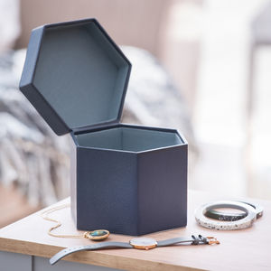 Ladies Leather Jewellery Box Ink Blue - sale