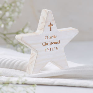 Personalised Christening Wooden Star With Cross - shop by price