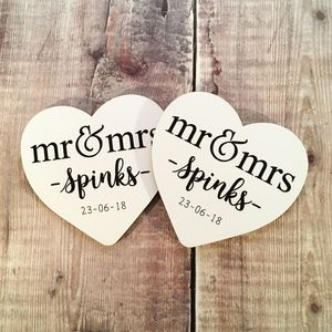 Personalised Heart Shaped 'Mr And Mrs' Coaster Set