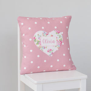 Personalised Keepsake Cushion With Sprig Print Heart - personalised cushions