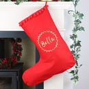 Personalised Christmas Stocking With Name And Wreath