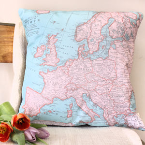 Europe Map Print Cushion - bedroom