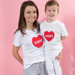 Personalised Mother's Day Heart Mum And Child Pyjamas