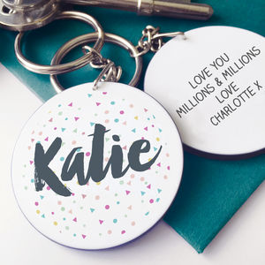 Personalised Confetti Message Keyring