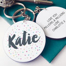 Personalised Confetti Message Keyring