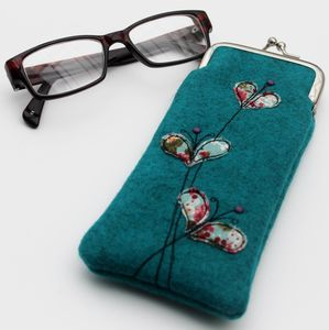 Embroidered Flowers Glasses Case