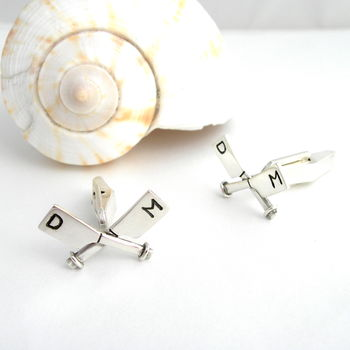 Personalised Rowing Crossed Oar Silver Cufflinks