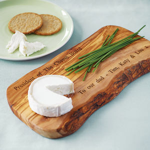 Personalised Olive Wood Cheese Board - gifts for fathers