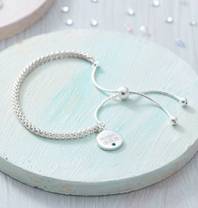 Personalised Silver Disc Birthstone Friendship Bracelet - bracelets & bangles
