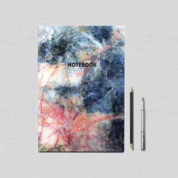 Personalised Red Blue Marble Notebook