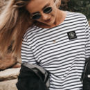 Striped 'Insignia' Logo Long Sleeve Breton Top And Bag
