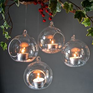 Set Of Four Hanging Tealight Bubbles - tree decorations