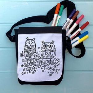 Owls Colour Me In Bag Or Tablet Case