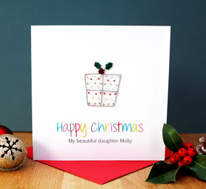 A Personalised Christmas Present Embroidered Card - christmas