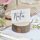 Wooden Mini Log Wedding Place Card Holders Five Pack