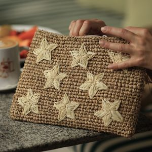 Star Straw Clutch Bag - natural materials