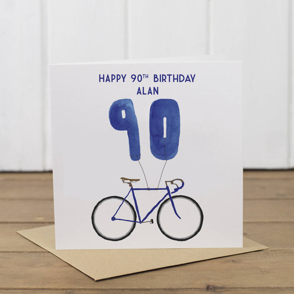 Personalised Bike 90th Birthday Card