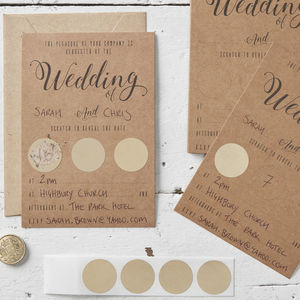 Kraft And Gold Scratch The Date Wedding Invitations - wedding stationery