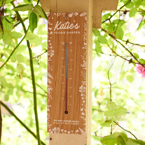 Personalised Solid Oak Garden Thermometer