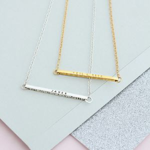 Personalised Silver Bar Necklace - monogram & script