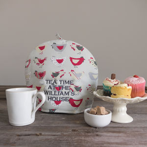 Personalised Embroidery Roost Red Tea Cosy - tea & coffee cosies