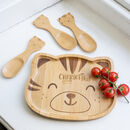 Personalised Tiger Bamboo Plate And Cutlery Set