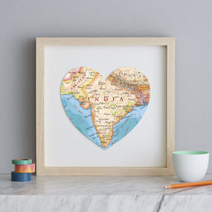 Personalised Location India Map Heart Print - maps & locations