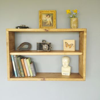 Reclaimed Natural Wooden Double Wall Shelf