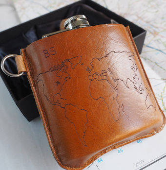 World Map Personalised Leather Hip Flask