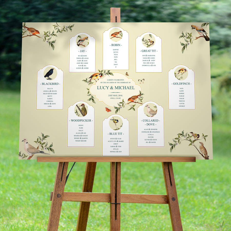 Garden Bird Wedding Seating Chart By Vanilla Retro
