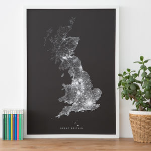 Great Britain Roads And Paths Contemporary Map Print - new birthday gifts