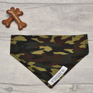 Green And Black Military Camouflage Dog Bandana - dogs