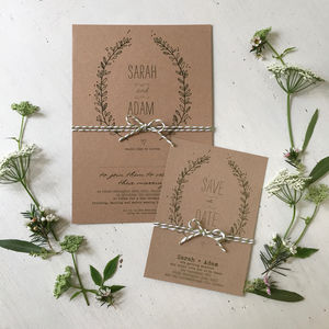Sweet Leaves Wedding Stationery Range - invitations