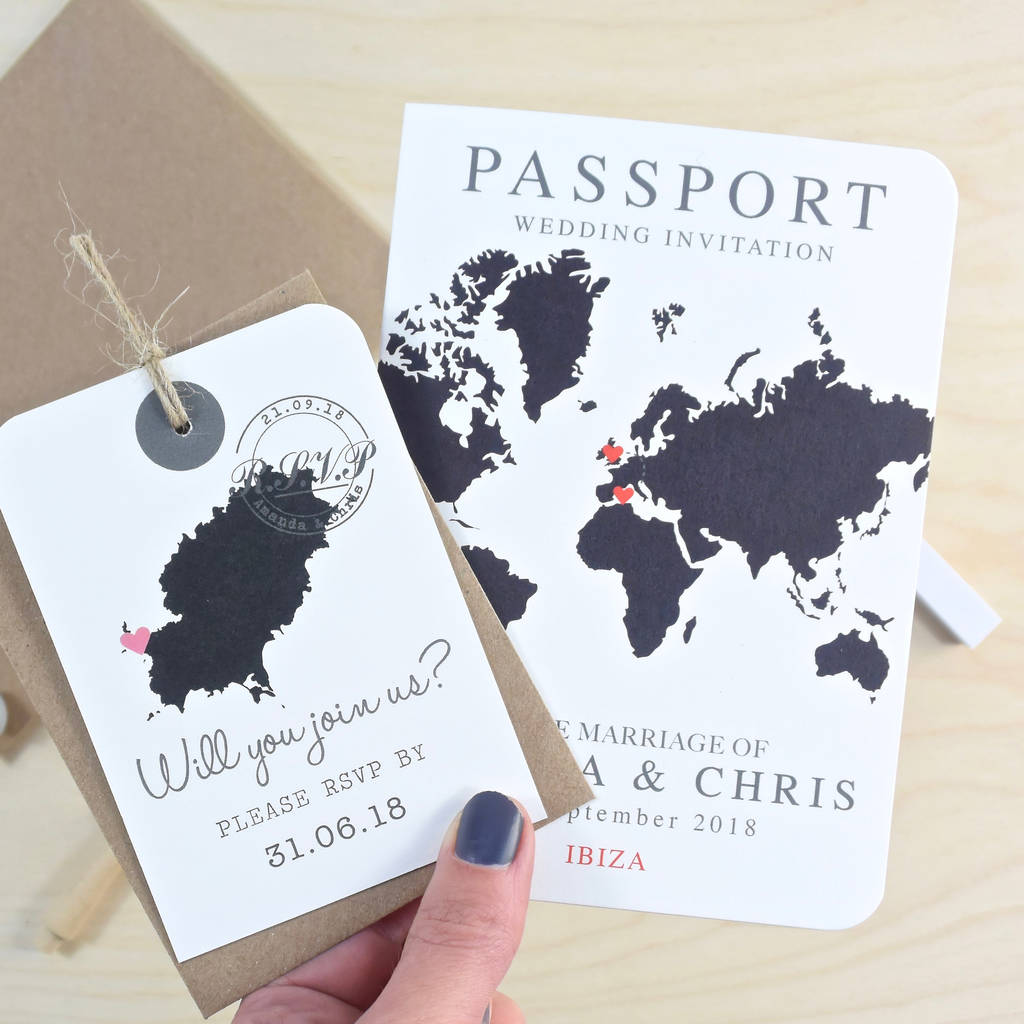 Wedding Invitations With Maps: World Map Passport Wedding Invitation By Paper And Inc