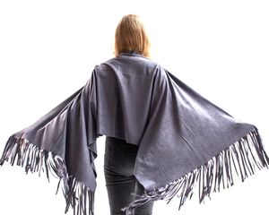 'Swing It' Grey Tasselled Wrap - ponchos & wraps