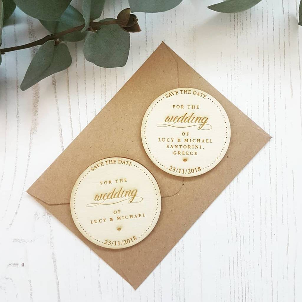 save the date wedding script wooden magnet by design by eleven