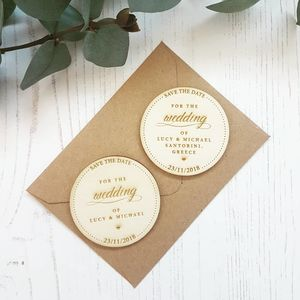 Save The Date Wedding Script Wooden Magnet - invitations