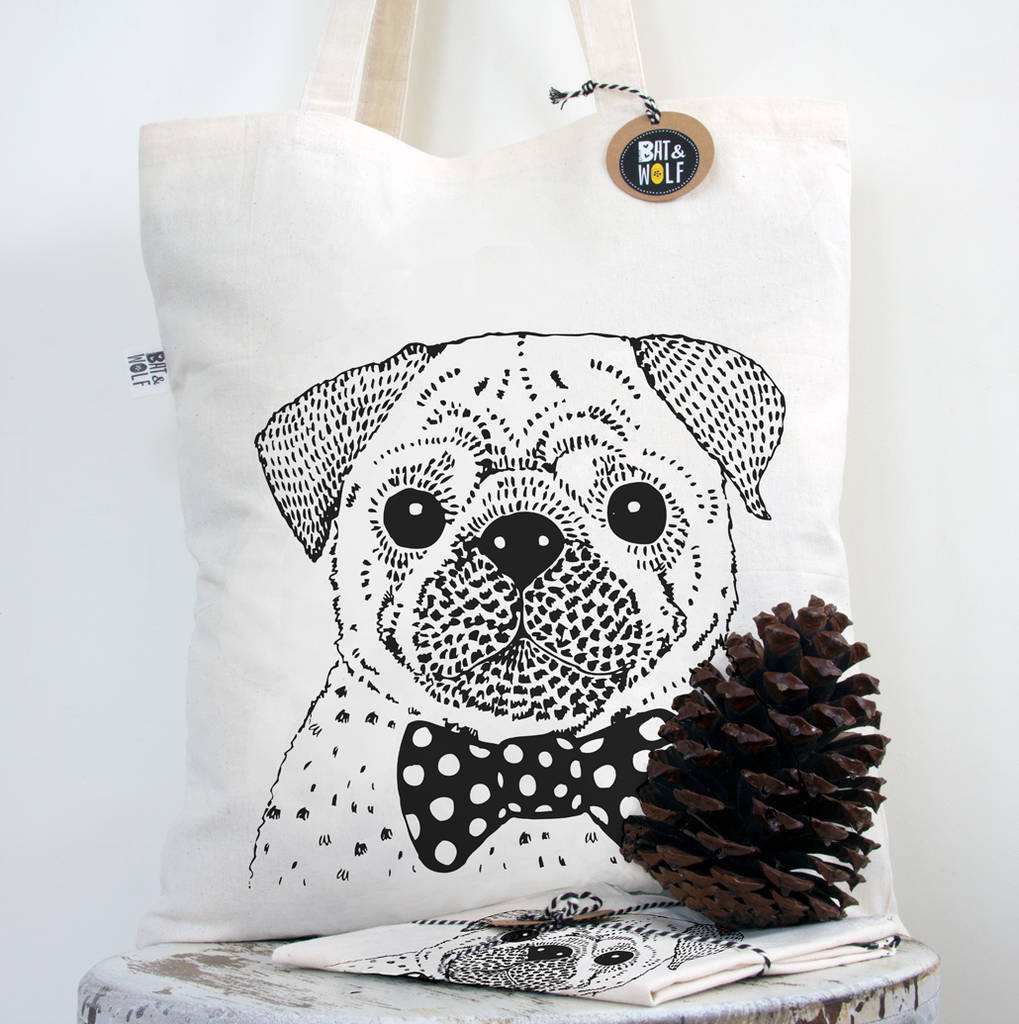 Screen Printed Pug In A Bow Tie Book Bag