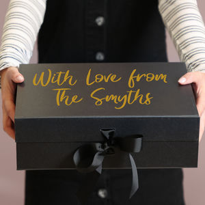 Personalised Luxury Black Gift Boxes With Ribbon
