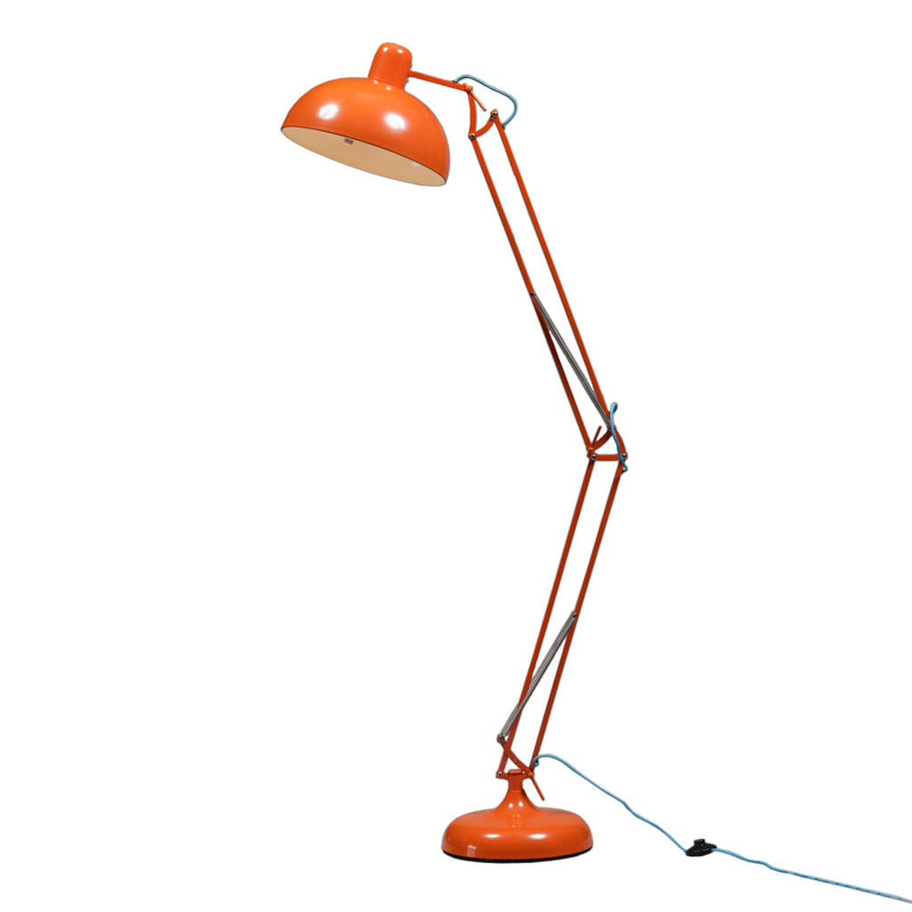 Retro angle floor lamp in eight colours by out there interiors retro angle floor lamp orange aloadofball