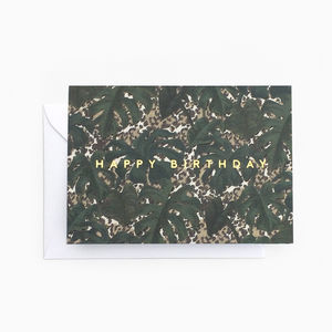 Tropical Leaf Animal Print 'Happy Birthday' Card