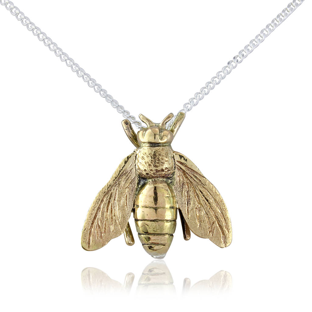 Honey bee pendant necklace by argent of london notonthehighstreet honey bee pendant 9ct gold aloadofball